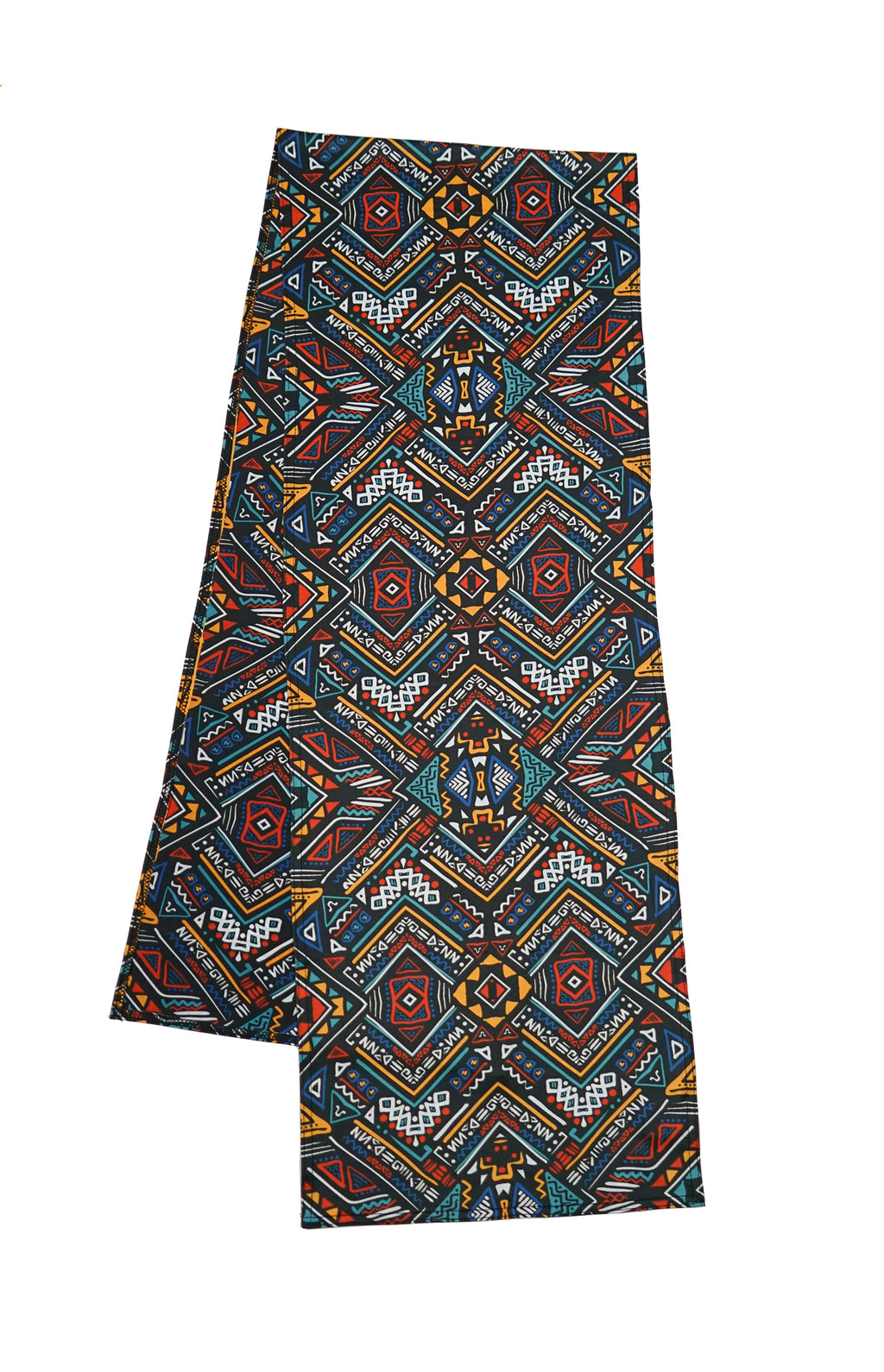 Super comfortable music festival pashmina. Unique tribal patterns with vibrant red, blue, orange, and white colors. The perfect music festival accessory that can be used as a face mask.