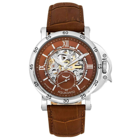 Wristwatch Metal Skeleton Soft Cowhide Strap Mineral Glass Back Case Retro Roman Numerals (Brown/Brown)