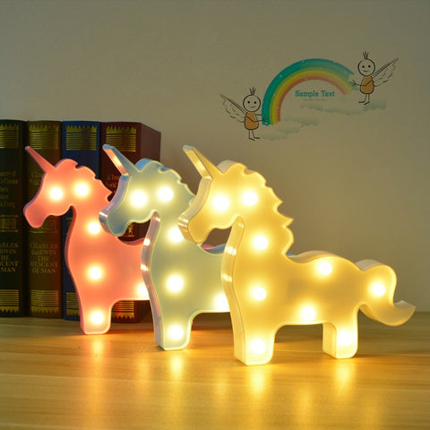 Novelty 3D LED Unicorn Party lamp Animal Marquee Table lamp Baby