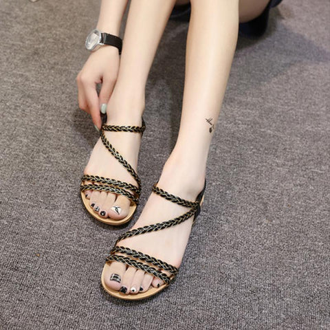 Roman Sandals Summer Female Shoes Flat Bottom Beach Sandles