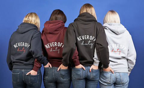 All four Never Off Duty hoodie colours
