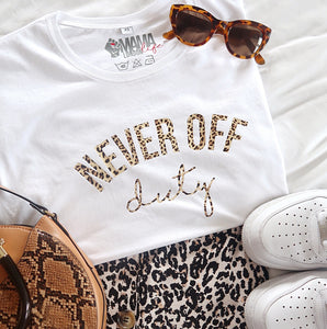 Never Off Duty t-shirt in leopard print by Mama Life London