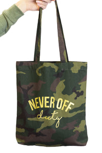 Never Off Duty Camo and gold bag