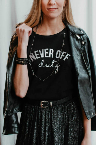 Black and Silver Never Off Duty t-shirts by Mama Life London