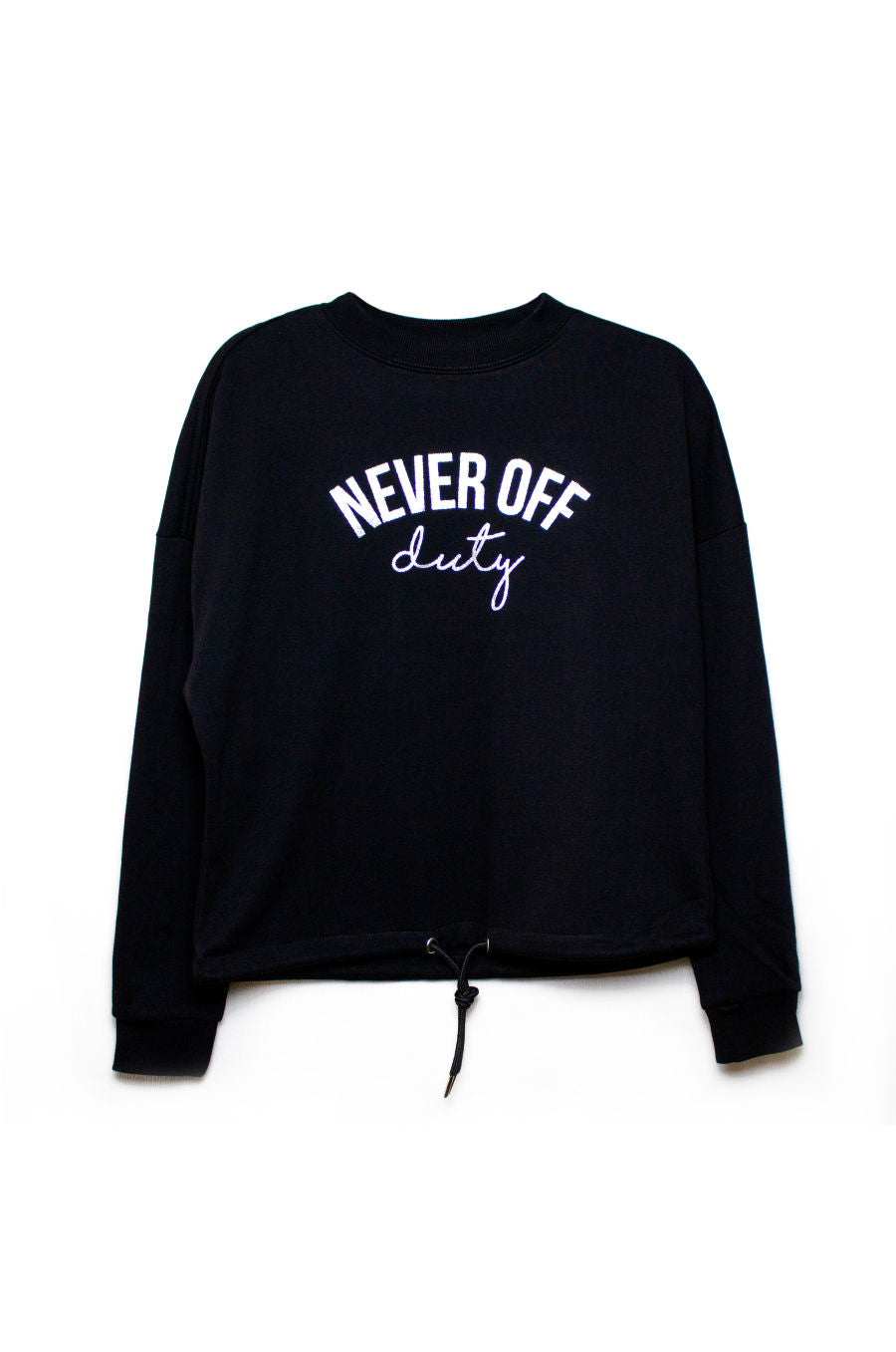 Black and silver crew neck Never Off Duty Sweatshirt by Mama Life London