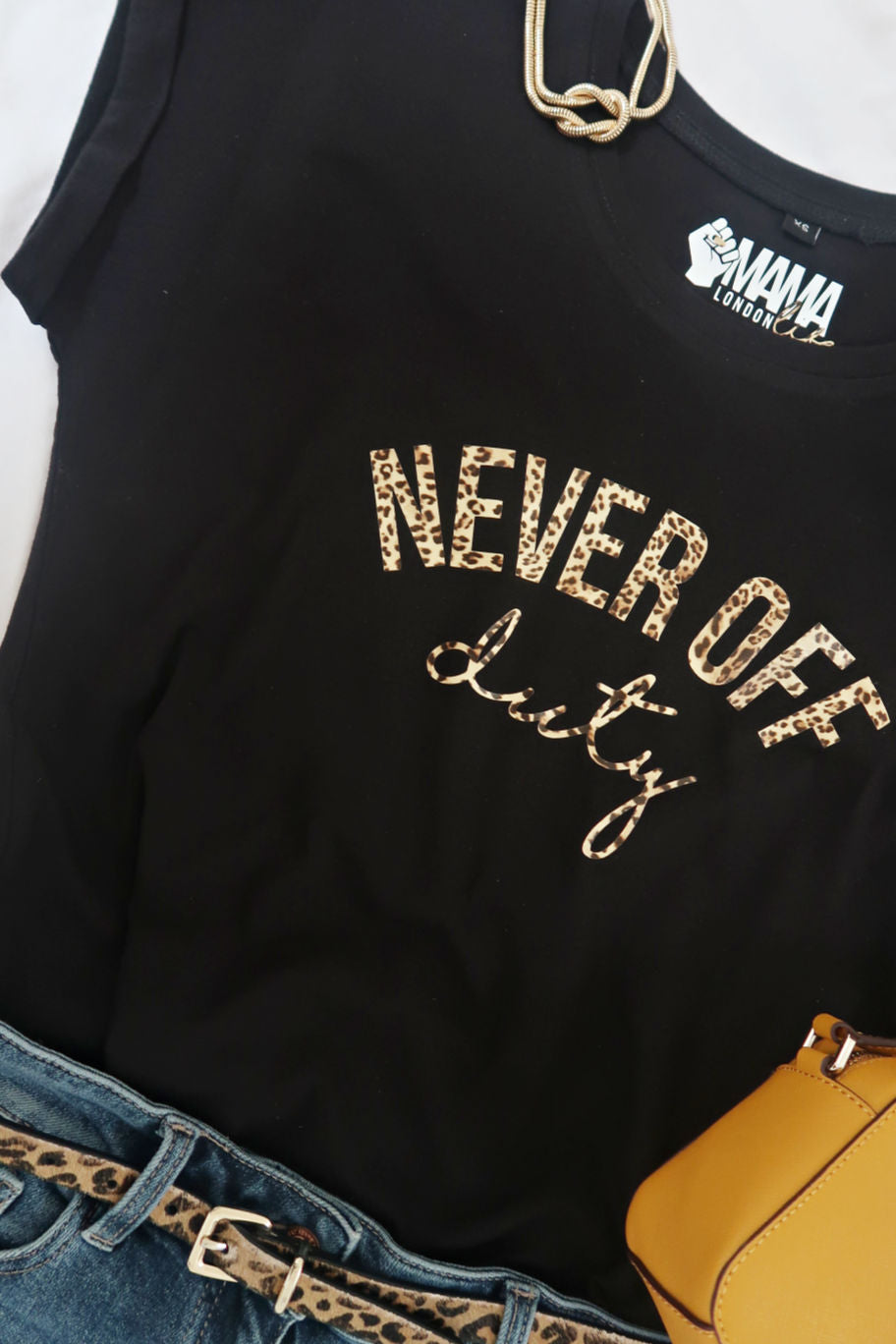Never Off Duty black and leopard print t-shirt by Mama Life London