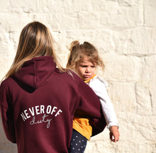 Load image into Gallery viewer, Never Off Duty hoodie in burgundy by Mama Life London
