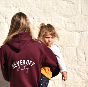 Never Off Duty hoodie in burgundy by Mama Life London