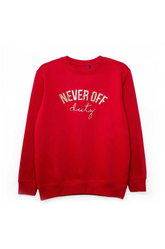 Never Off Duty cherry red sweatshirt by Mama Life London