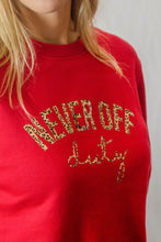 Load image into Gallery viewer, Never Off Duty cherry red sweatshirt by Mama Life London