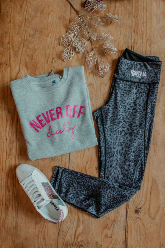 The Mama Life London cosy kit, grey Never Off Duty sweater with leopard print leggings.