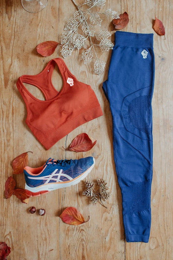 Fit kit by Mama Life London orange bra and navy leggings
