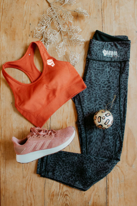 Fit kit by Mama Life London orange bra and leopard print leggings