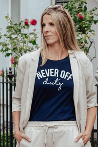 Navy Never Off Duty t-shirt styled by Mama Life London