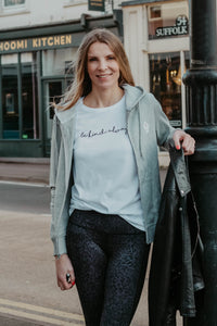 Be kind always t-shirt in white worn with the Mama Life London leopard print leggings