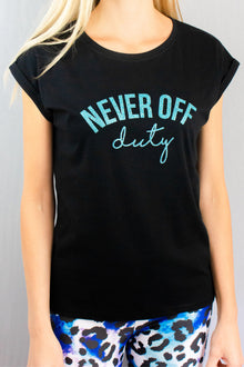 Never Off Duty black and blue glitter tee by Mama Life London.
