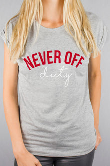 Never Off Duty grey t-shirt