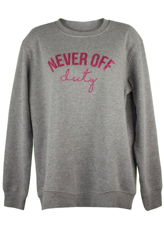Never Off Duty pink glitter grey sweater