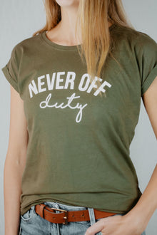 khaki and white Never Off Duty tee