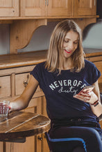 Load image into Gallery viewer, Navy Never Off Duty t-shirt by Mama Life London