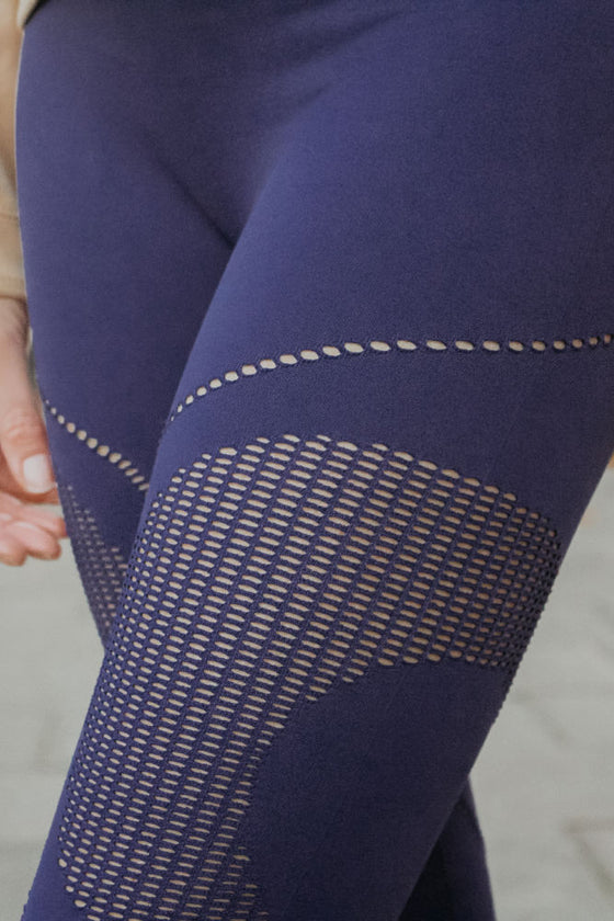 Mama Life London navy leggings close up