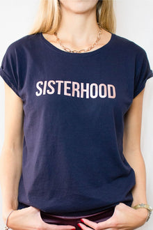 Navy and rose gold SISTERHOOD t-shirt by Mama Life London