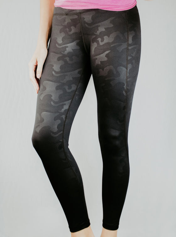Black camo leggings by Mama Life London