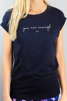 you are enough navy t-shirt by Mama Life London