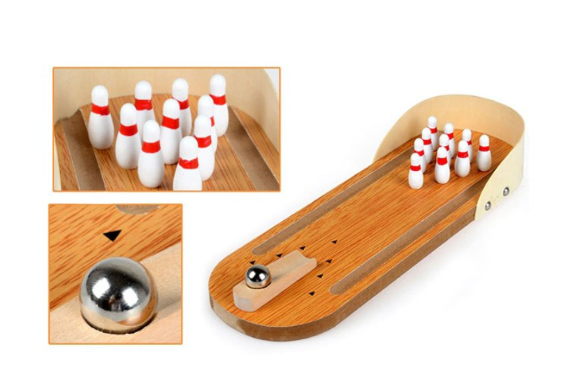 Mini Wooden Bowling Toy