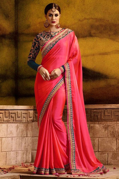 Pink Silk With Lace Border Embroidered Work Bollywood Stylish Bridal Designer Saree