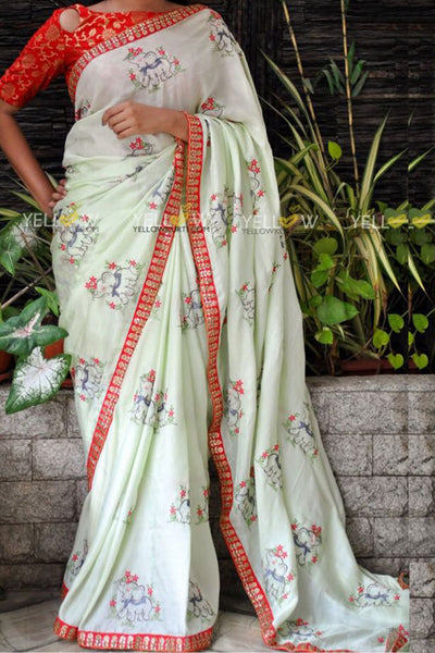 Good Looking Bamber Silk With Embroidered Work Wedding Wear Saree