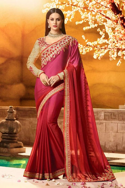 FireBrick Rangoli Silk With Lace Border Work Festive Wear Indian Designer Saree
