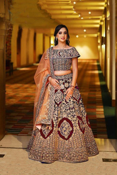 Maroon Banglori Silk With Zari Embroidered and Stone work Wedding wear Bridal Lehenga Choli