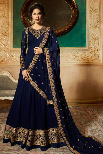 Pleasing Navy blue Codding embroidered work festive wear Bollywood Gown