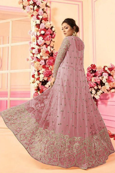 Women Oracle Special Pink Bride Net with Embroidered work Wedding wear Indo Western Suit in USA