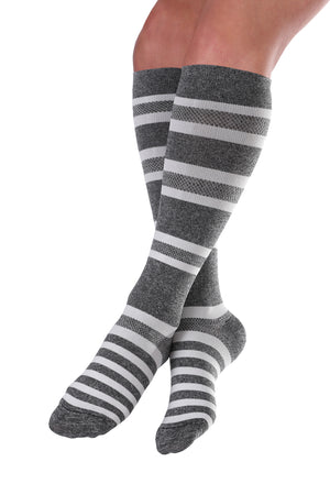 Knee-High Compression Socks - Gray & White Stripe