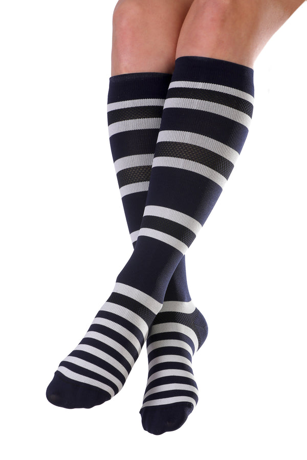 Knee-High Compression Socks - Navy & White Stripe