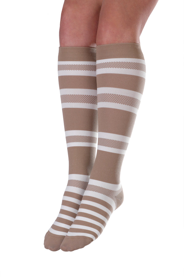 Knee-High Compression Socks - Tan & White Stripe
