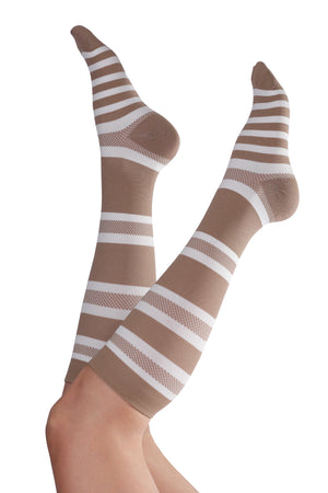 Thin & Soft Knee-High Compression Socks - Tan & White Stripe