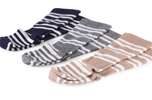 Thin & Soft Knee-High Compression Socks - Gray & White Stripe