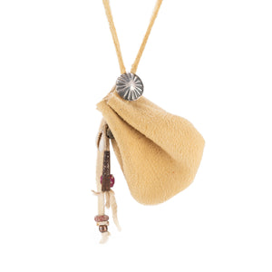 Brain Tan Leather Pouch Necklace