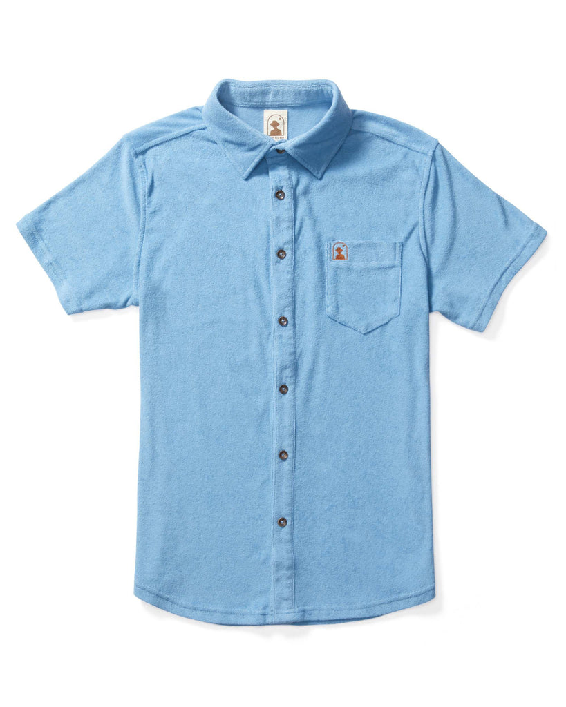 The Tropez Terry Cloth Shirt - Soft Sky Blue