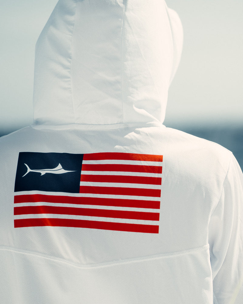 White USA United Billfish Hooded Long Sleeve