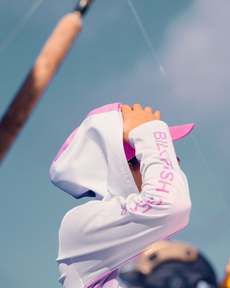 White/Pink Hooded Long Sleeve