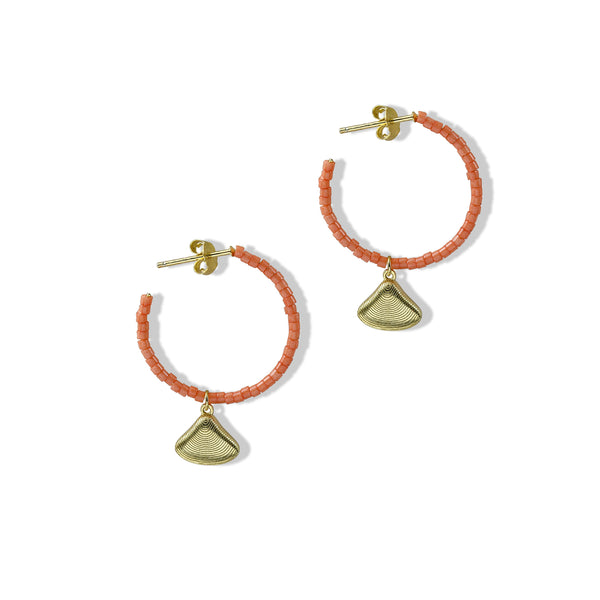 THE OPEN CORAL SHELL EARRING