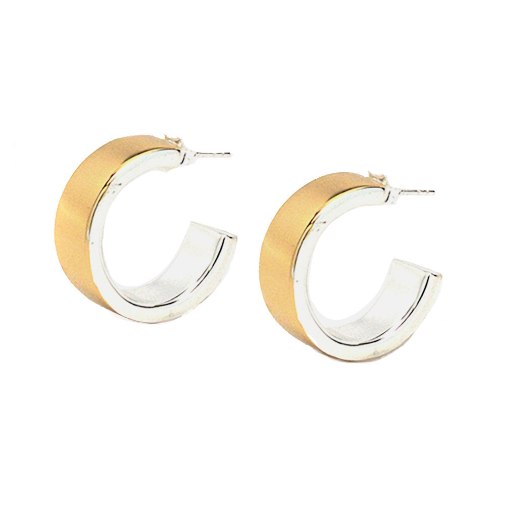 TWO-TONE HUGGIE HOOPS