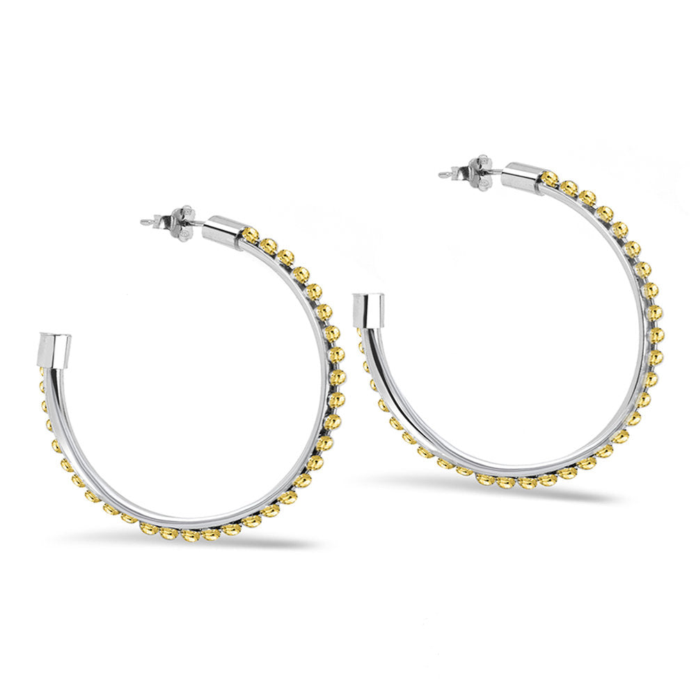 TWO TONE STUDDED HOOPS