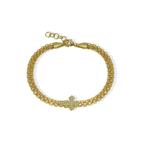 THE SIDE CROSS FLAT CHAIN BRACELET
