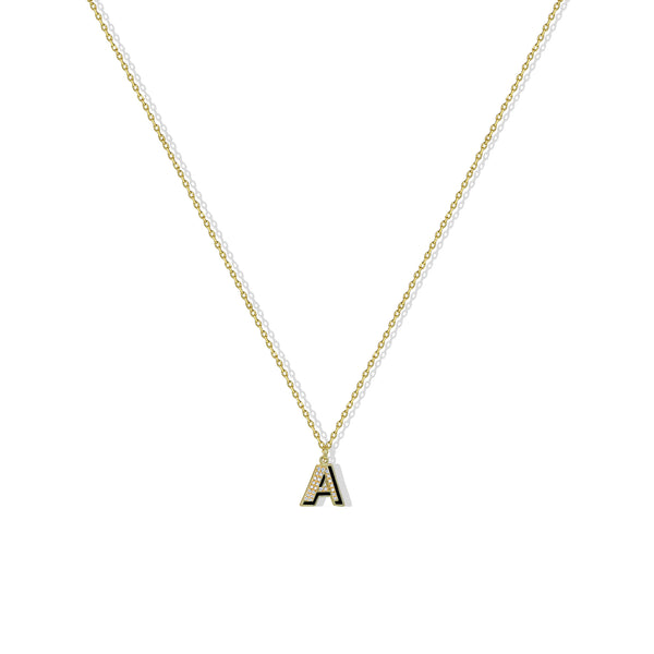 THE CZ ENAMEL BLOCK INITIAL NECKLACE