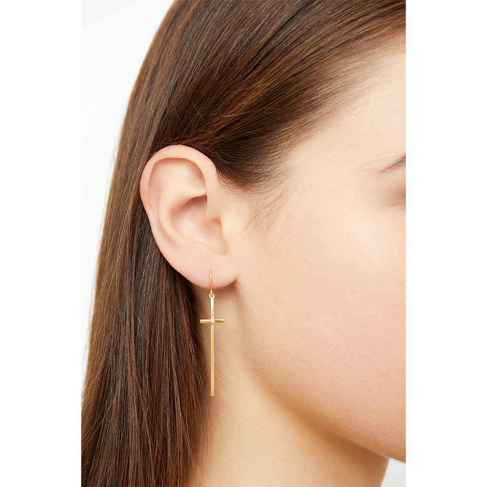 DROP CROSS EARRINGS
